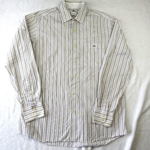1a7eb585 Lacoste Mens Striped Long Sleeve Button Up Shirt
